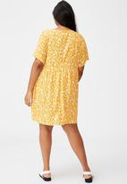 Cotton On - Curve good times babydoll mini dress - yellow & white