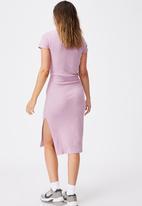 Cotton On - Essential split short sleeve midi dress - soft mauve