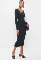 MILLA - Asymmetric neckline midi bodycon dress - black