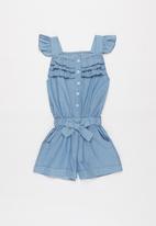 POP CANDY - Girls denim ruffle playsuit - blue