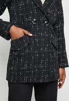 edit - Classic check melton coat - black