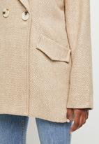 edit - Classic check melton coat - neutral