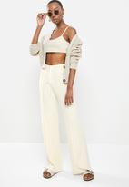 Factorie - Variegated rib wide leg pant - ivory