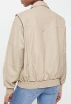 Cotton On - Vegan leather panelled biker - beige