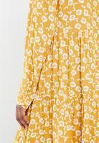 Blake - Printed collared tiered midi dress- yellow