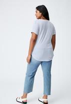 Cotton On - Curve karly short sleeve tee - josie stripe white_coastal blue