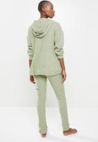 Missguided - Waffle loungewear hoodie & jogger set- olive