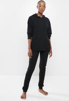 Missguided - Waffle loungewear hoodie & jogger set- black