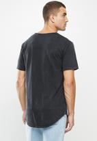 Factorie - Longline curved washed T-shirt - washed black