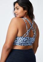 Cotton On - Curve strappy sports crop - summer bloom navy