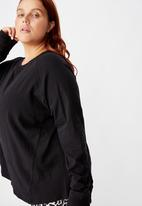 Cotton On - Curve active rib long sleeve top - black
