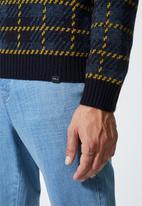 Superbalist - Check pattern crew knit - navy & mustard