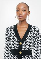 Missguided - Houndstooth button front mini dress - black