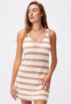 Cotton On - Summer lounge slip dress - brown & white