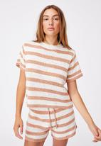 Cotton On - Summer lounge T-shirt - brown & white