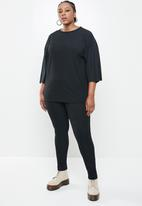 Missguided - Plus size tie sleeve co ord set - black