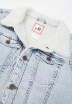 Free by Cotton On - Boys jessie dnm sherpa jacket - blue