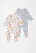 Cotton On - 2 Pack long sleeve zip romper - blue & pink