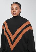 Superbalist - Plus chevron jumper - black & rust