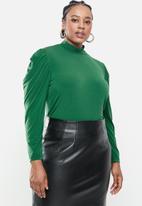 Blake - Drape sleeve bodysuit with turtleneck - emerald