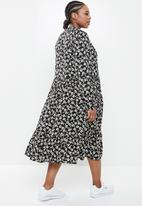 Blake - Printed collared tiered midi dress - black
