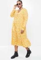 Blake - Printed collared tiered midi dress - mustard