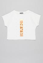 Sissy Boy - Love' foil logo top, loosely fitted - off white