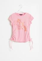 Sissy Boy - Glitter logo round neck top - blush pink