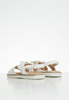 MINOTI - Girls big bow pu sandal - white