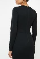 VELVET - Crew neck cut-out bodycon midi dress  - black