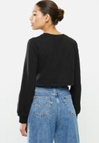 Blake - Fleece knot front cropped sweater - black