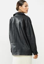 Missguided - Longline vintage biker - black