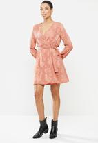 MILLA - Burnout chiffon wrap tea dress - desert rose