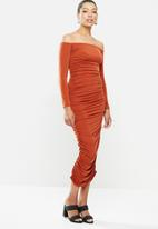 MILLA - Ruched bodycon midaxi dress - orange