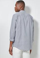 Superbalist - Lee regular fit mandarin stripe shirt - navy & white