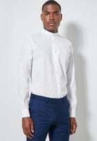 Superbalist - Wu slim strech mandarin shirt - white