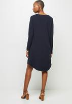 edit - Crepe long sleeve v-neck tunic - navy