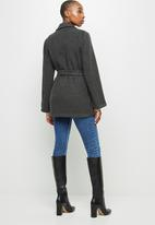 edit - Unlined belted coat - charcoal