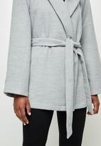 edit - Unlined belted coat - grey