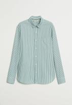MANGO - Kodak shirt - green & white