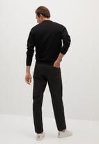 MANGO - Knitted woolen polo shirt- black
