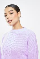 Missguided - Cropped cable knit jumper - lilac