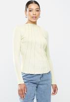 Missguided - Corset cut asymmetric long sleeve top - aqua