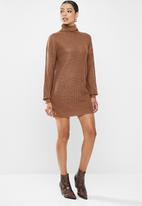 Missguided - Roll neck basic dress - mocha