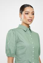 Missguided - Cotton pearl skater shirt dress short sleeve - sage