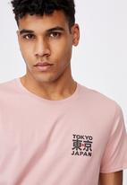 Factorie - Curved graphic T-shirt - pink