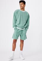 Factorie - Reverse fleece track short - mint