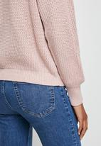 edit - Ribbed raglan jumper - pink