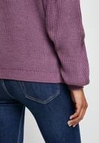 edit - Slouch neck stitch detail jumper - purple