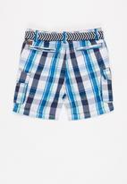 MINOTI - Checked short with belt - blue